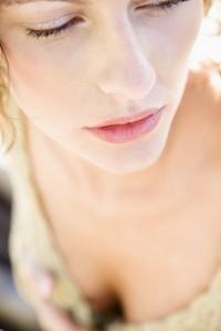 Close-up portrait of serious woman